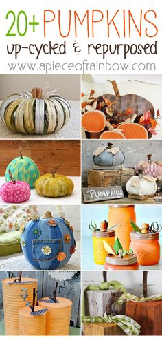 20+ creative re-purposed pumpkin ideas to DIY for Thanksgiving and Halloween! Make gorgeous pumpkins with household stuff ! - A Piece of Rainbow