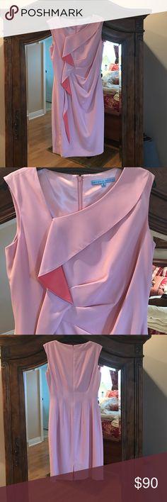 Antonio Melani spring dress Light peach/melon color dress with darker peach/melon ruffle.  Wore once. EUC. And kept covered in closet.  Like new. Bought in 2016. ANTONIO MELANI Dresses Midi