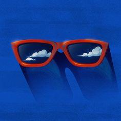 Eyeglasses, clouds, sun.