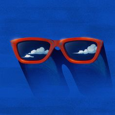 Eyeglasses, clouds, sun.