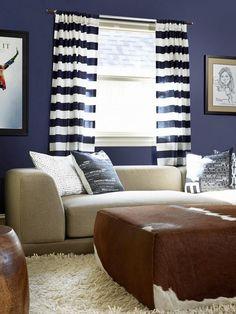Navy Blue Meets Black and Beige - 20 Living Room Color Palettes You've Never Tried  on HGTV