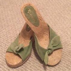 💕NWOT--Green Espadrilles💕 Never worn, light green wedges Shoes
