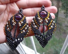 Micro macrame earrings Bohemian Charcoal Gold by MartaMacrame