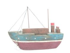 Wood Boat Beach House Vintage Boat Nautical by KarensChicNShabby