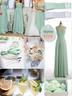 Flowing Full Length Mint Bridesmaid Dresses For Gray Weddings