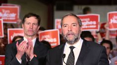 Tom Mulcair campaigns at Jim Hughes' Campaign Office in Notre-Dame-de-Grâce-Westmount. Mr. Mulcair talks about the NDP's strategy about poverty among seniors and families with young children.In Montreal, Quebec, on Friday August 28, 2015.