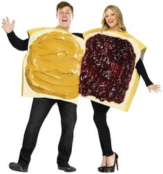 #Funnycostume - Peanut Butter And Jelly Couple Adult Costume