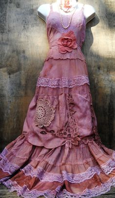 Prairie wedding dress tea stained cotton rustic by vintageopulence, $150.00