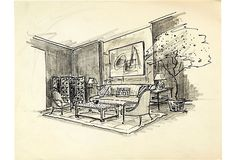 Sketch of a sitting room with folding screen. Pencil on paper.