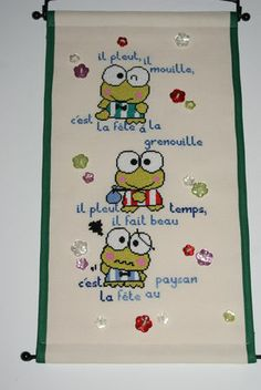 keropi Mouille, Cross Stitch Embroidery, Snoopy, Crafts, Fictional Characters, Art, Art Background, Manualidades, Kunst