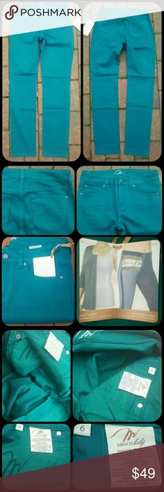 Miraclebody Skinny Minnie TEAL stretch Jeans Pants Bnwt  Miraclebody by Miraclesuit  TAG doesn't indicate style name or #  but from past experience w/this line of shaping jeans 99.9% sure they are the skinny minnie style which imo is more a slim straight jean than what most consider a skinny, pls see meaurments to make ur own judgement call .. Sz 6 PLS SEE tag for material contents ,marketed as a jean but not really denim IMHO.  Ahhsome shade of teal, green w/blue undertones, color is…