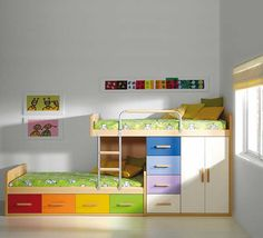 Kids Bunk Beds With Storage need this for the kids room - eliminates 2 dressers FLYZWSQ - Home Decor Ideas Bunk Beds With Storage, Cool Bunk Beds, Kids Bunk Beds, Bed Storage, Loft Beds, Small Room Bedroom, Small Rooms, Bunkbeds For Small Room, Trendy Bedroom