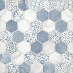 Chateau Blue 2 in. Hexagon Recycled Glass Mosaic - 13 x 14 - 100550714 | Floor and Decor