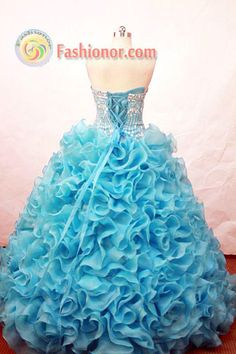 Popular ball gown strapless floor-length beading teal organza quinceaner ...    fashionor.com