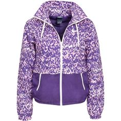 Nike City Blocker Jacket ($80) ❤ liked on Polyvore featuring outerwear, jackets, coats, nike, tops, purple, womens-fashion, hooded jacket, tall jackets and slim fit jacket