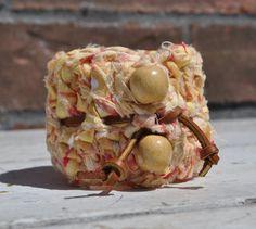 Yellow Crocheted Fabric Bracelet  with Leather Tie by yokieB, $30.00