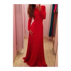 Rotita Red Long Sleeve V Neck Maxi Party Dress (16 CAD) ❤ liked on Polyvore featuring dresses, gowns, gown, outfit, vestido, red, red ball gown, red dress, maxi dress and long sleeve red gown