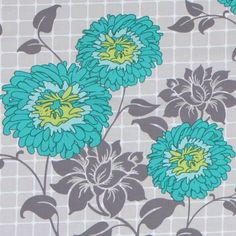 gray Michael Miller fabric turquoise flower Dahlia Lama  beautiful light gray fabric with turquoise Dahlia flowers by Patty Young from the USA