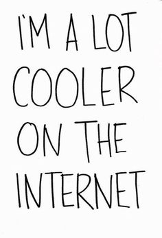 I am a lot cooler on the internet