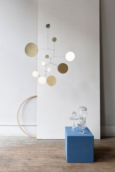 """☯ Mid Century Style Brass Mobile """"Circles"""" ☯ Handmade in Germany ☯ Many more mobiles for adults and children available ☯ We deliver to all of Europe and beyond ☯ Mobile Art, Hanging Mobile, Hanging Art, Design Shop, Home Design, Mobile Calder, Mobile Sculpture, Motif Art Deco, Kinetic Art"""