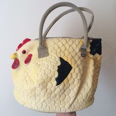 Awesome funky chicken handbag / hen handbag - perfect as a hen night gift but also as a novelty accessory to complement a sassy outfit - never used excellent condition #chicken #hen #animal #novelty #crazy #statement #handbag