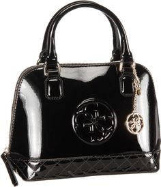 Guess Amy Shine Small Dome Satchel Black - Handtasche
