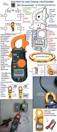 It is great for testing real current consumed by electrical gadgets ed in our homes. A clamp meter is like a digital multimeter with a jaw which can clamped around a wire of an operating electrical instrument to measure current. Home Electrical Wiring, Electrical Projects, Electrical Installation, Residential Electrical, Electrical Safety, Electronics Basics, Electronics Projects, Electronics Gadgets, Electronic Engineering
