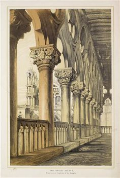 """John Ruskin """"Venice Architecture- The Ducal Palace Renaissance Capitals of the Loggia"""" 1887 by Plum leaves Renaissance Architecture, Classical Architecture, Renaissance Art, Architecture Details, Architecture Drawings, Architecture Illustrations, Architecture Artists, Landscape Architecture, Birmingham Museum"""