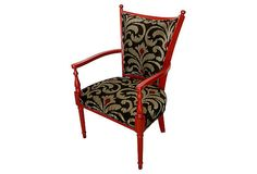 Throne Upholstery Red Ruby Hand Painted Accent Chair Upholstered in Designer Woven Jacquard Fabric by Throne Upholstery
