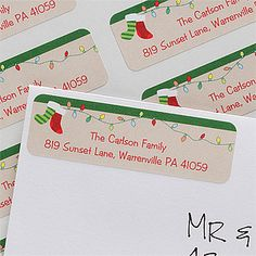 These personalized return address labels will save you SO much time and money when you're writing out your Christmas Cards! LOVE this cute stocking and Christmas Lights design from PersonalizationMall! #Christmas #Stocking