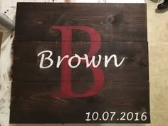 Custom Last Name and Wedding Date Wooden by banddwoodencreations