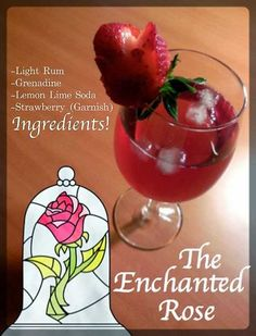 Young Adult Disney: The Enchanted Rose Cocktail Cocktail Disney, Disney Cocktails, Cocktail Drinks, Disney Themed Drinks, Disney Alcoholic Drinks, Alcoholic Shots, Comida Disney, Disney Food, Drunk Disney