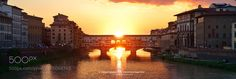 Florence sunset panorama over Ponte Vecchio by davidsqd