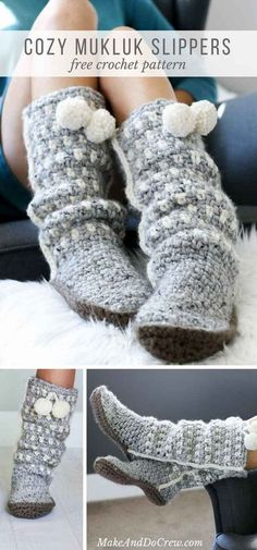 These slouchy, stylish and easy crochet slippers come together with surprisingly simple construction and very few ends to weave in! Free pattern + tutorial using Lion Brand Wool-Ease Thick & Quick. via Free crochet boot pattern Mode Crochet, Crochet Diy, Crochet Crafts, Crochet Ideas, Crochet Pillow, Tutorial Crochet, Quick Crochet Gifts, Quick Crochet Patterns, Things To Crochet
