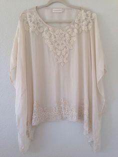 Johnny Was/ 4 Love And Liberty 100% Sheer Silk/Silk Velvet Ivory Beading  in Tops & Blouses | eBay