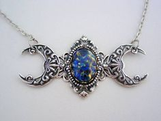 Art Nouveau Triple Moon Goddess Blue Fire Opal Small Sterling Silver Oxidized Finish Necklace