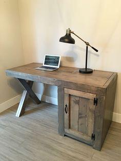 Custom desk x legs, cupboard. #rusticmeadows #woodworkingideas