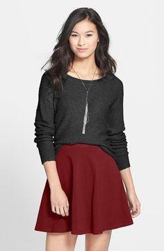 $16, Burgundy Skater Skirt: Lily White Skater Skirt Burgundy Large. Sold by Nordstrom. Click for more info: https://lookastic.com/women/shop_items/44116/redirect