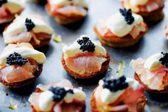 citrus-cured sea bass on blinis with ossetra caviar and crème fraiche Antipasto, Blinis Recipes, Tapas, Nibbles For Party, Caviar Recipes, Great British Chefs, Party Dishes, Small Meals, Sea Bass