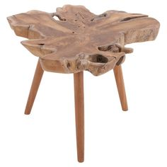 Teak wood end table with an organic top.   Product: End tableConstruction Material: Teak woodColor: ...