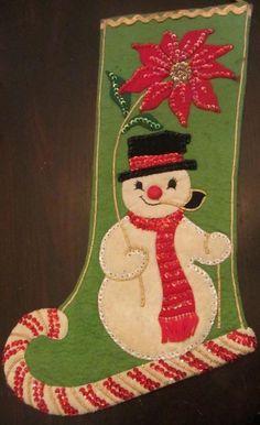 Vintage Handmade 50's Felt Snowman Candy Cane Christmass Sequins Beads Stocking