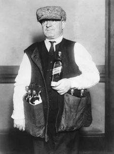 Prohibition: If you couldn't transport large volumes of alcohol easily, you had to be discreet. This gentleman's waistcoat was designed to hide whiskey under an overcoat.