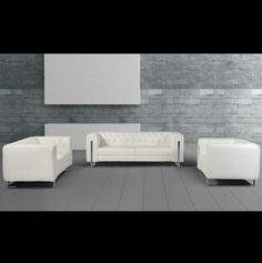 "Salvia Modern White Leatherette Sofa Set - Salvia Modern White Leatherette Sofa Set     Product Information    Dimensions Divani Casa Salvia Modern White Leatherette Sofa Set Sofa: W85"" x D35"" x H28""    Loveseat: W67"" x D35"" x H28""     Chair: W44"" x D35"" x H28""    Seat Depth: 22""    Seat Height: 18""   SKU 90030   Texture Leatherette   Additional Information       Set Includes: Sofa, Loveseat and ..."