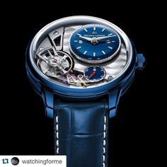 "#Repost @watchingforme with @repostapp.  Maurice Lacroix Masterpiece Gravity  For Only Watch 2015 Maurice Lacroix has created the cutting-edge Masterpiece Gravity ""Only Watch 2015"". Its blue polished POWERLITE case is a special design creating an eye-catching effect. Using a unique andpatented alloy Maurice Lacroix fused Titanium Aluminum Magnesium Zirconium and Ceramic to form a robust durable and light alloy. Matching bluelacquered time andseconds dialscompletethe look with rhodied logo…"
