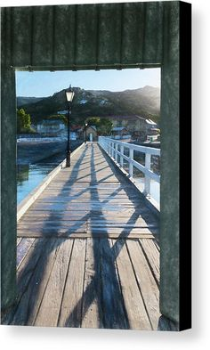 Akaroa New Zealand Pier Sketch Canvas Print by Joan Carroll.  All canvas prints are professionally printed, assembled, and shipped within 3 - 4 business days and delivered ready-to-hang on your wall. Choose from multiple print sizes, border colors, and canvas materials.  #akaroa #pier #light #shadows #morning #sketch  Visit joan-carroll.pixels.com for more #art #photography #fashion and #homedecor items from #newZealand and around the world!