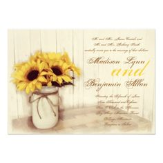 Rustic Country Sunflowers Mason Jar Wedding Invitations with twine bow and barn wood background.  40% OFF when you order 100+ Invites.