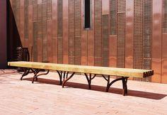 Public bench / original design / in wood / cor-ten steel MIGRATION RACINE by Agence APS CYRIA