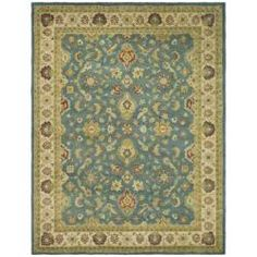 @Overstock - This hand-tufted intricate handmade wool rug features an Oriental design in which sage, gold, and ivory mingle against a teal background. Intricately made by hand, this rug will provide both warmth and individuality to your living room decor.http://www.overstock.com/Home-Garden/Handmade-Jaipur-Blue-Beige-Wool-Rug-5-x-8/5217395/product.html?CID=214117 $172.79