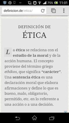 La ÉTICA es un valor, un estilo de vida tomados de la mano de Dios para respetar, apreciar y valorar las oportunidades que otras manos nos brindan...