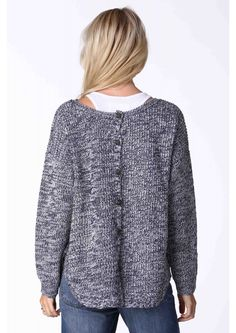 Danica Marled Button-Back Sweater in Grey | Necessary Clothing